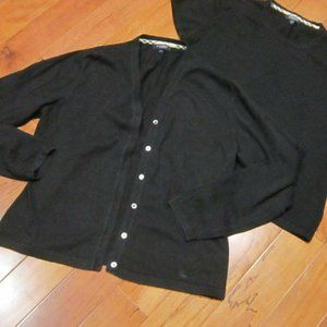 burberry womans sweater set twin set large black